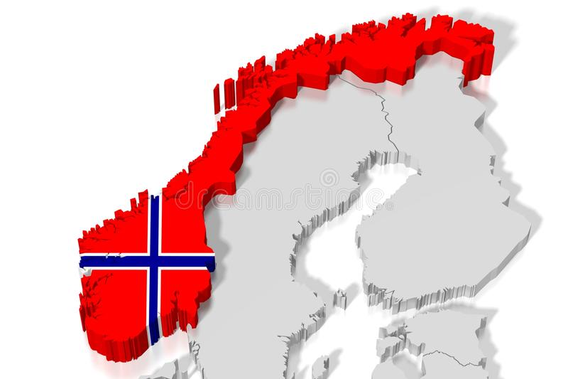 3D kaart, vlag - Noorwegen royalty-vrije illustratie