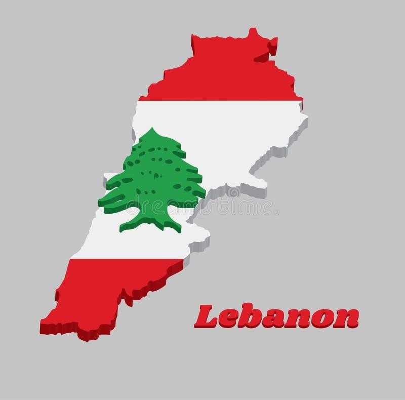 3D Kaartoverzicht en de vlag van Libanon, het zijn een horizontale die triband van rood en wit, met een groene Ceder van Libanon  stock illustratie