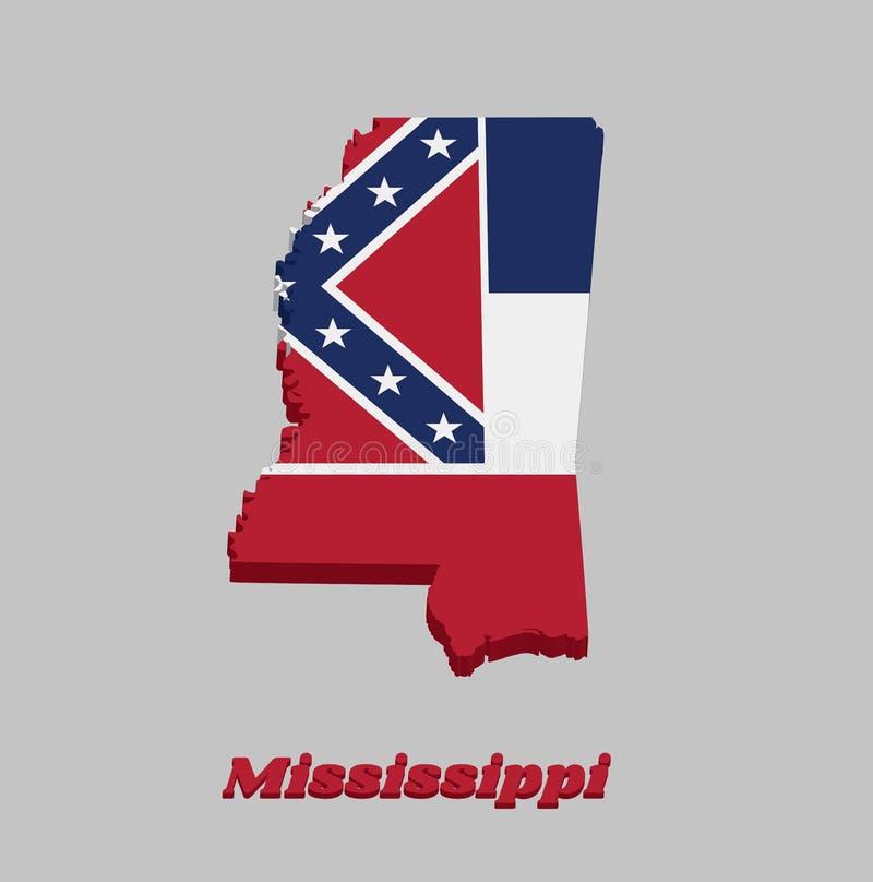 3D Kaartoverzicht en vlag van de Mississippi, Drie horizontale strepen van blauwe wit en rood Het kanton is vierkant, overspant t stock illustratie