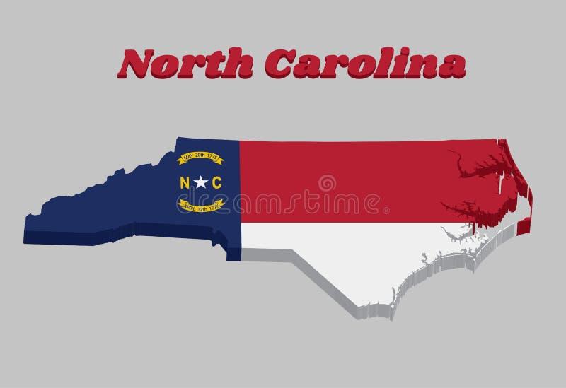3D Kaartoverzicht en vlag van Noord-Carolina, de blauwe unie van A, een witte ster met N en C, de cirkel die hetzelfde bevatten o stock illustratie
