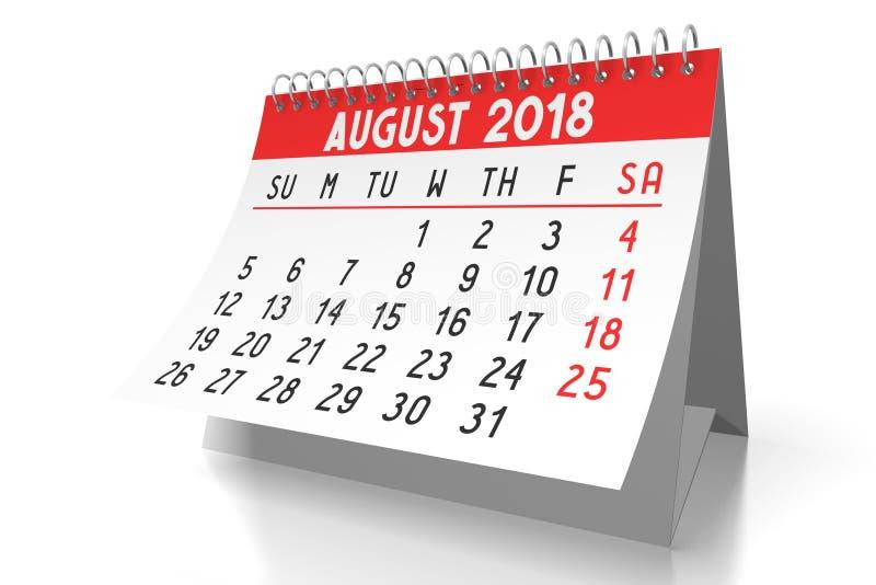 3D kalender 2018 - Augustus vector illustratie