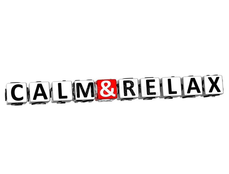 3D Kalm en ontspant de tekst van het Kruiswoordraadselblok op witte achtergrond stock illustratie