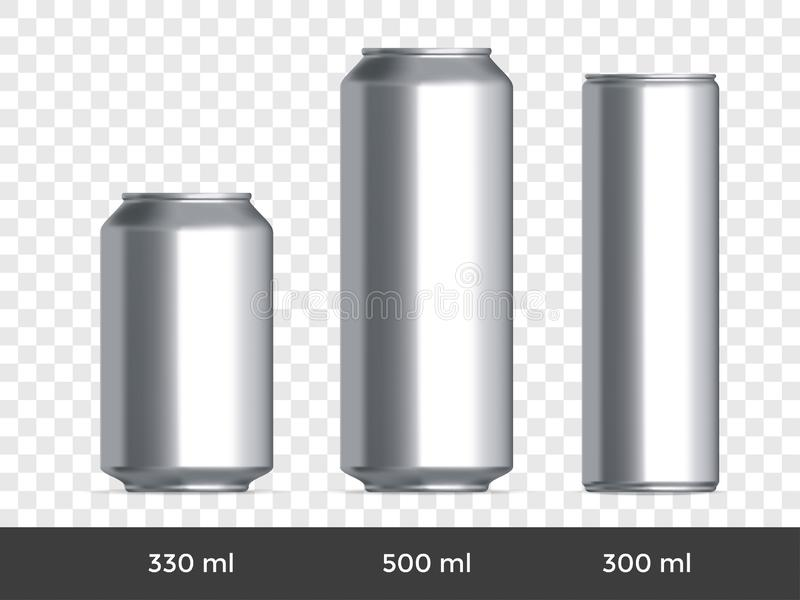 3D kan modellen För öl- eller sodavattencan för vektor aluminium mall för mellanrum stock illustrationer