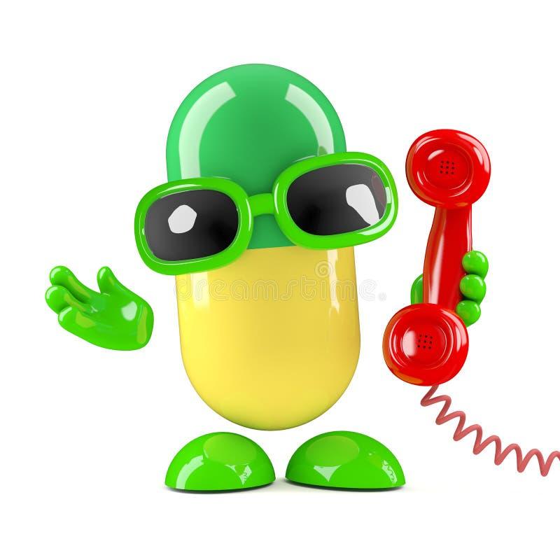3d kapsuła odpowiada telefon ilustracji
