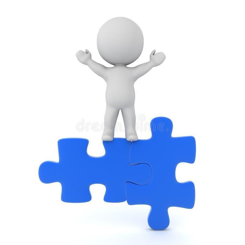 3D Karakter bovenop passende blauwe puzzelstukken royalty-vrije illustratie