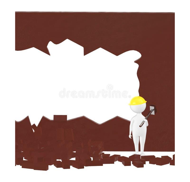 3d karakter, de holdingshamer die van de mensenarbeider zich op een gebied van de woekplaats, verspreide bakstenen bevinden vector illustratie