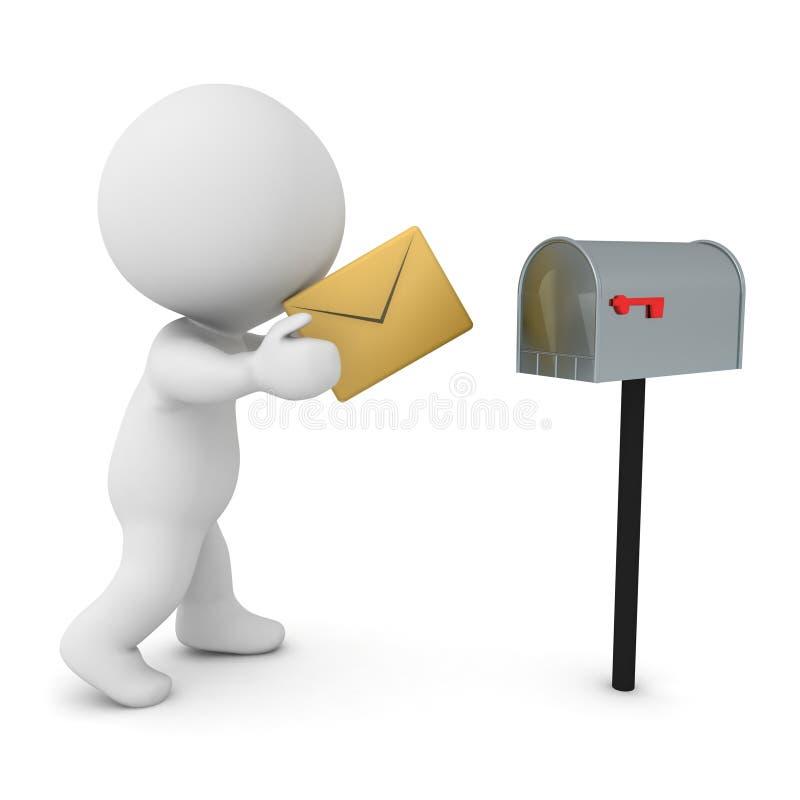 3D Karakter die brief in brievenbus zetten stock illustratie