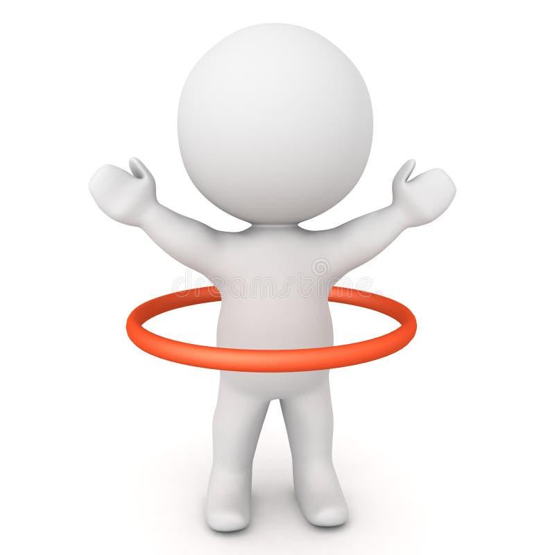 3D Karakter die een rode cirkelhoepel stuiteren rond hem vector illustratie