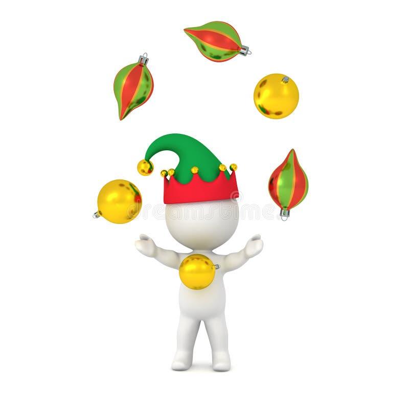 3D Karakter die met Elfhoed met Decoratieve Bollen jongleren stock illustratie