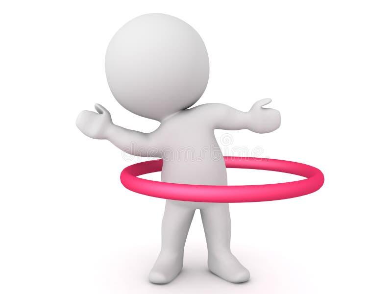 3D Karakter die met rode cirkel dansen hooparound hem vector illustratie