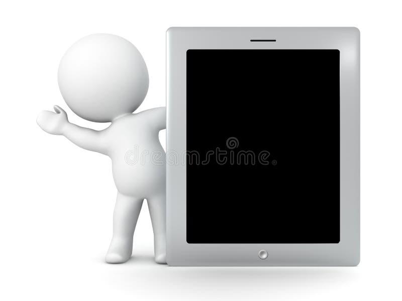 3D Karakter die van achter Generische Tablet golven stock illustratie