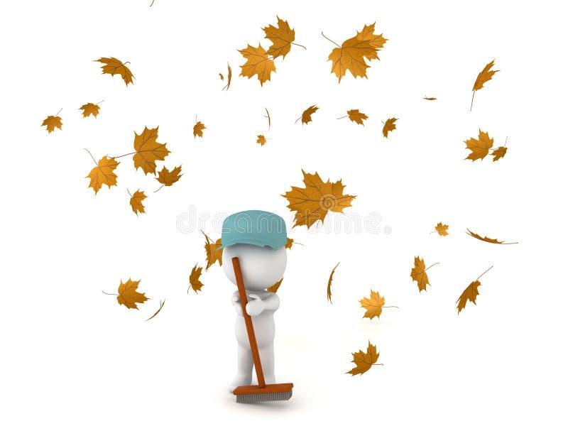 3D Karakter kleedde zich aangezien de portier die de gevallen herfst schoonmaken weggaat vector illustratie