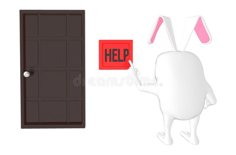 3d karakter, knoop van de konijn de dringende hulp royalty-vrije illustratie
