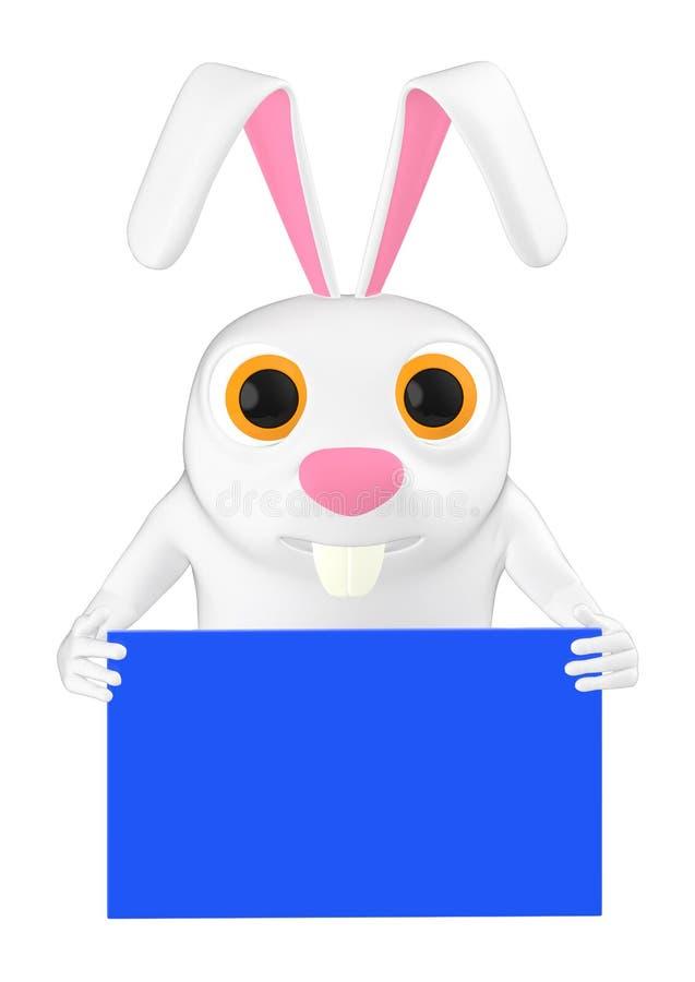 3d karakter, konijn die een envelop houden stock illustratie