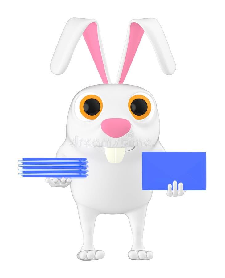 3d karakter, konijn die een envelop houden vector illustratie