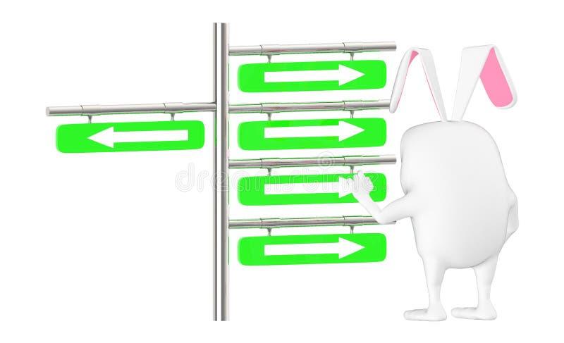 3d karakter, konijn die een post met pijlen bekijken die verschillende richtingen voorstellen stock illustratie