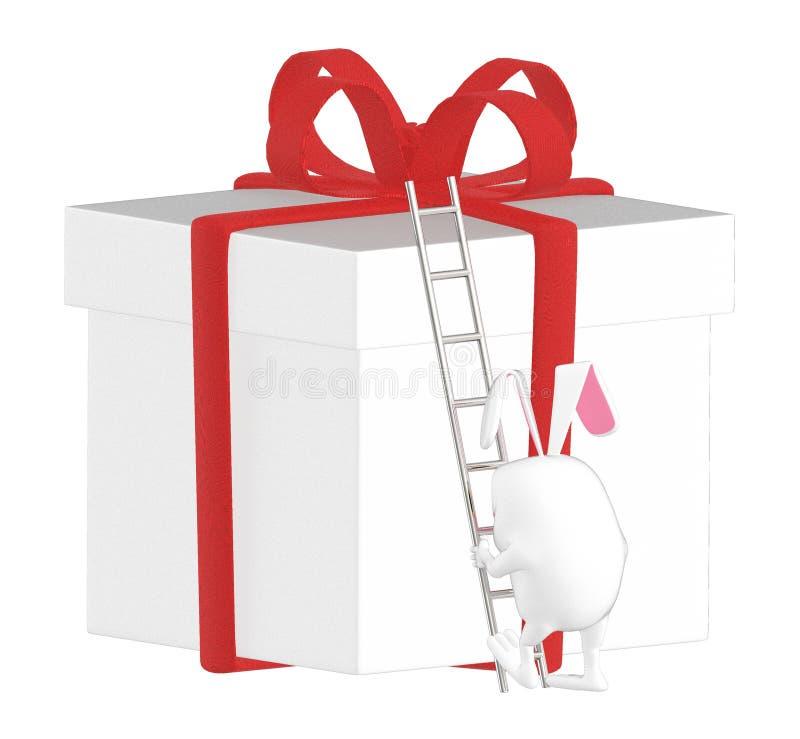 3d karakter, konijn die op een verpakte giftdoos beklimmen met een ladder royalty-vrije illustratie