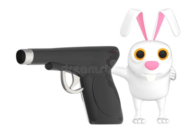 3d karakter, konijn en een kanon stock illustratie
