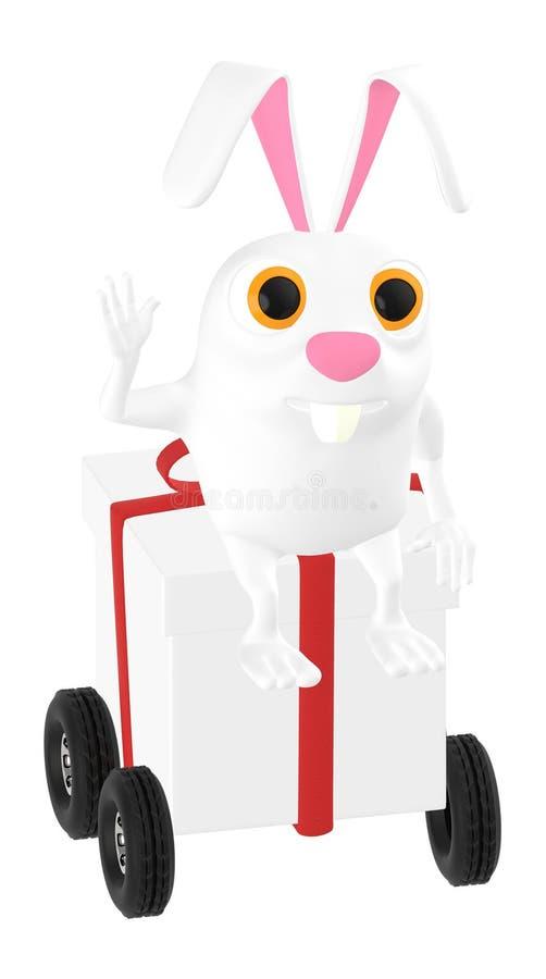 3d karakter, konijnzitting bovenop een lint verpakte giftdoos met wielen stock illustratie