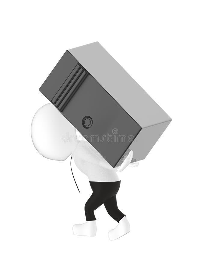 3d karakter, mens die een cpu dragen vector illustratie
