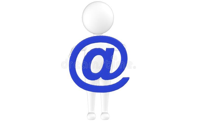 3d karakter, mens die een e-mailteken houden stock illustratie