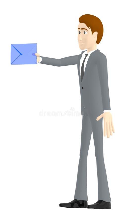 3d karakter, mens die een envelop houden vector illustratie
