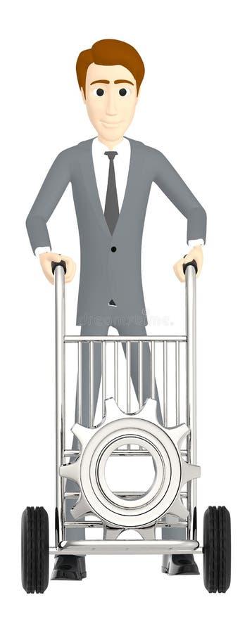 3d karakter, mens die een kar met tandrad/toestel daarin bewegen vector illustratie