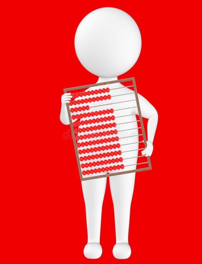 3d karakter, mens die een telraam houden vector illustratie