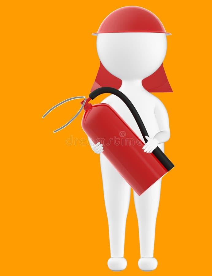 3d karakter, mens die veiligheid GLB dragen en een brandblusapparaat houden stock illustratie