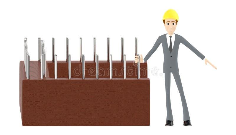 3d karakter, mens die veiligheidshoed dragen en zich dichtbij een bouwwerf bevinden royalty-vrije illustratie
