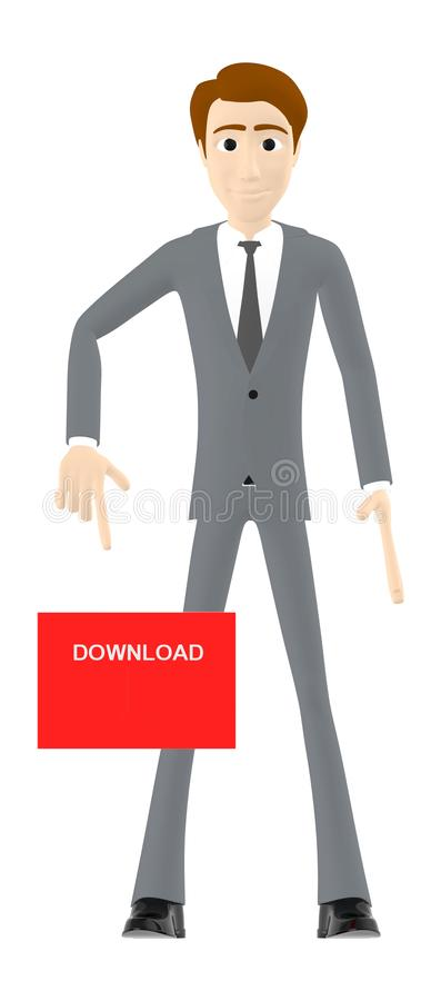 3d karakter, mens en een download rode doos royalty-vrije illustratie