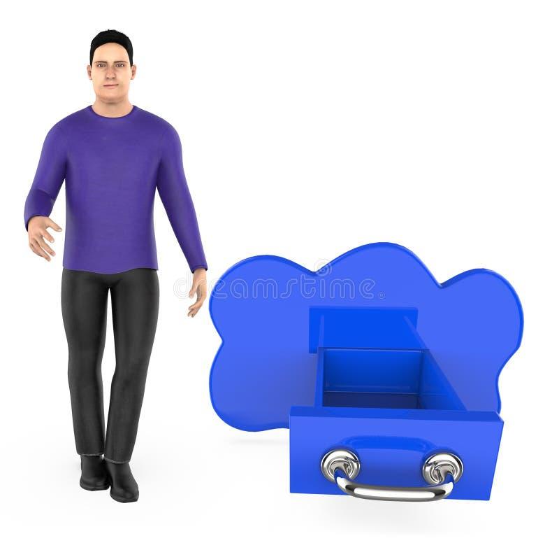 3d karakter, mens en wolk gestalte gegeven lade vector illustratie