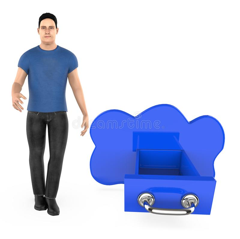3d karakter, mens en wolk gestalte gegeven lade stock illustratie