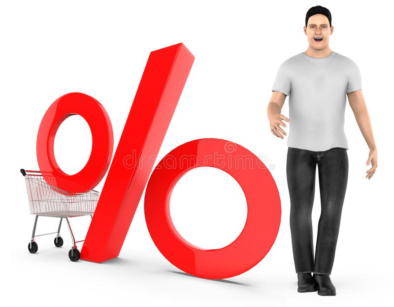 3d karakter, mens, karretje en percentageteken stock illustratie