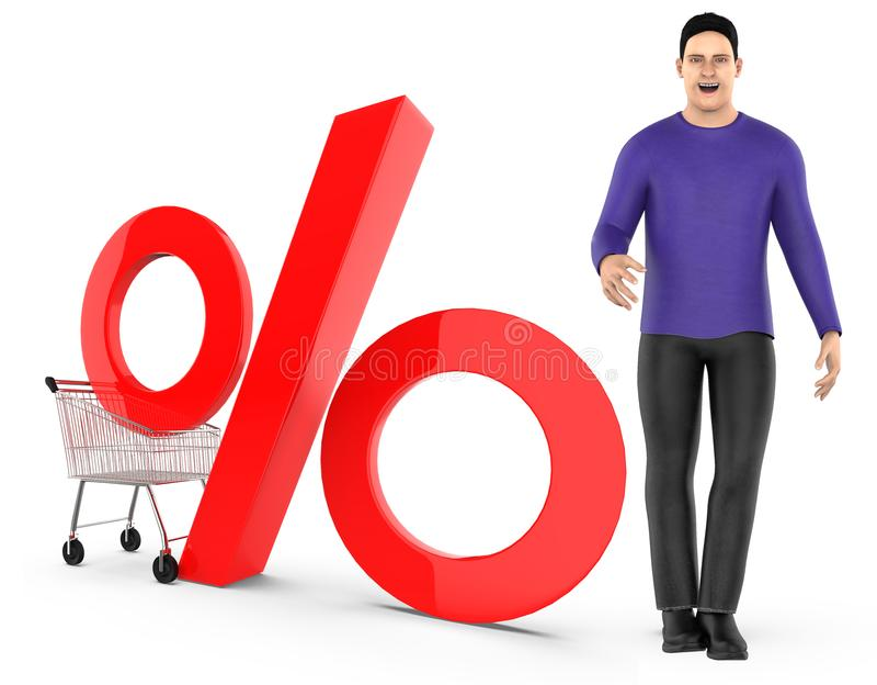 3d karakter, mens, karretje en percentageteken vector illustratie