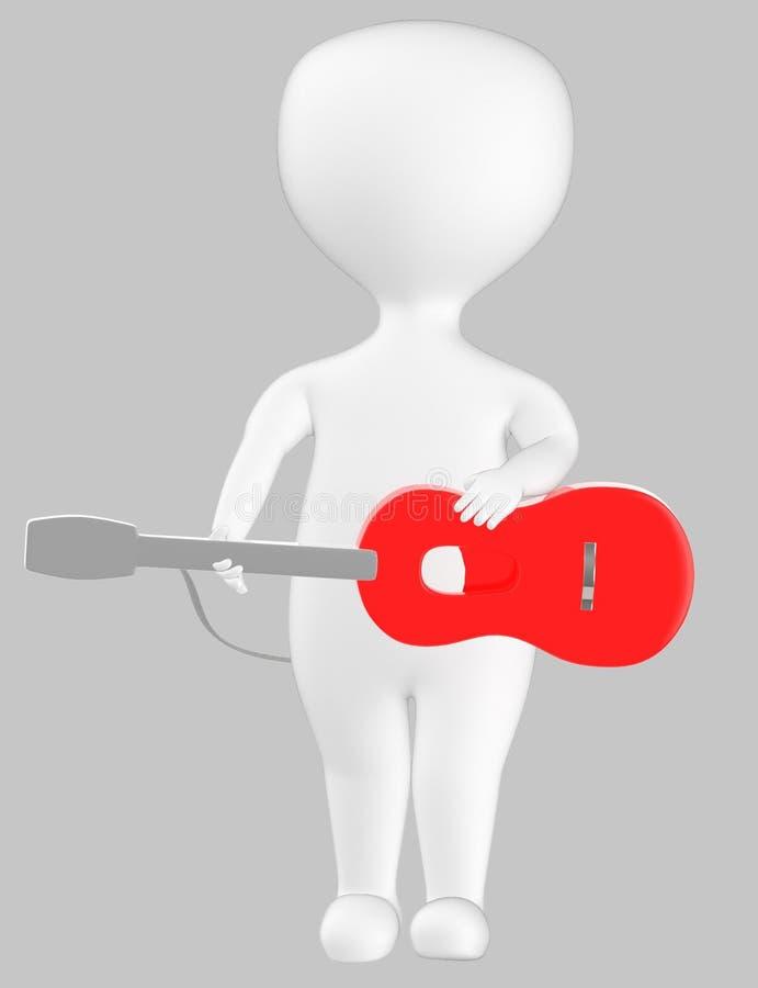 3d karakter, mens met een gitaar stock illustratie