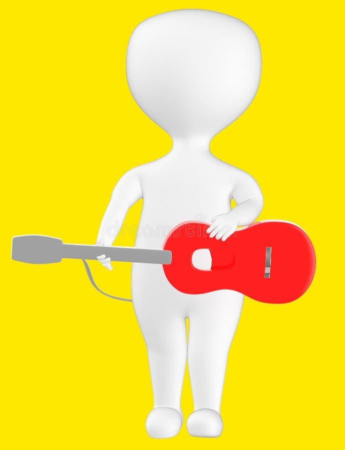 3d karakter, mens met een gitaar vector illustratie