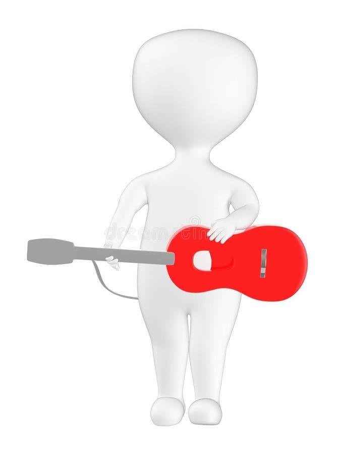 3d karakter, mens met een gitaar royalty-vrije illustratie