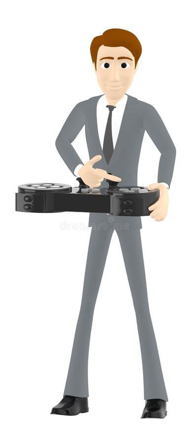 3d karakter, mensenholding gamepad met bedieningshendel stock illustratie