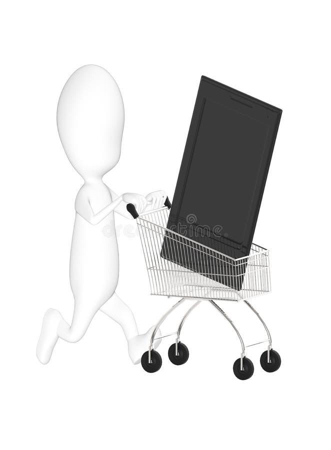 3d karakter, mensenkar met een smartphone stock illustratie