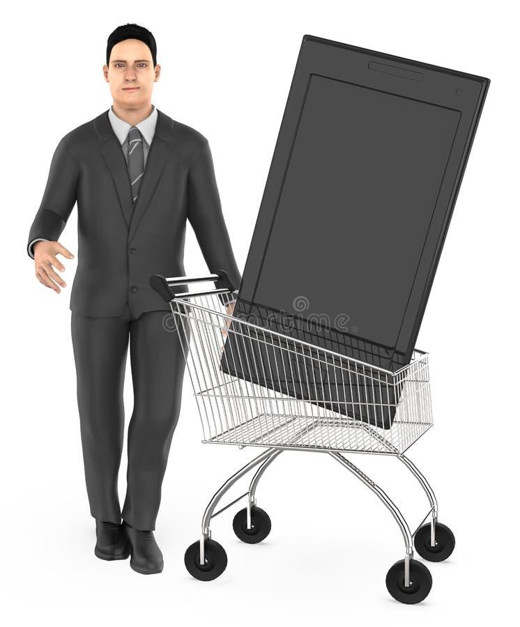 3d karakter, mensenkar met een smartphone royalty-vrije illustratie