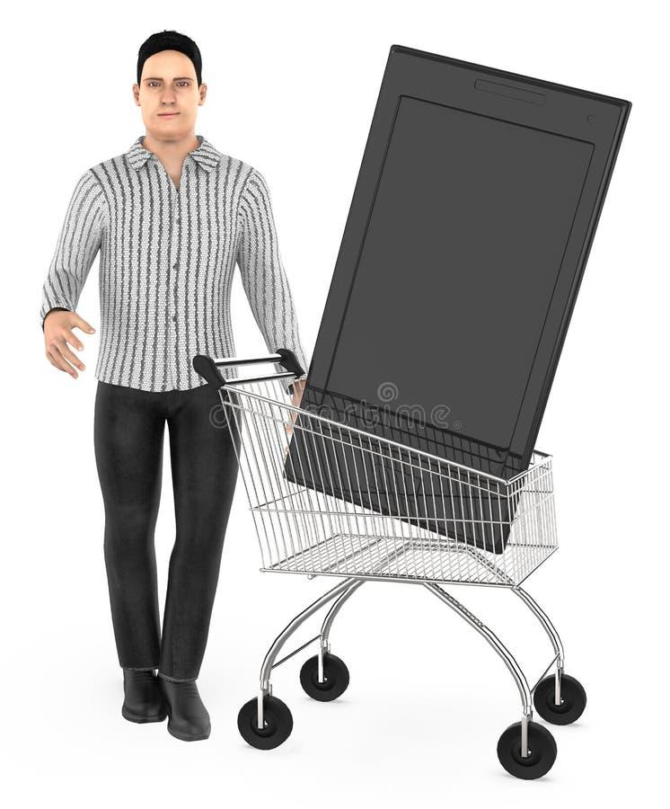 3d karakter, mensenkar met een smartphone vector illustratie