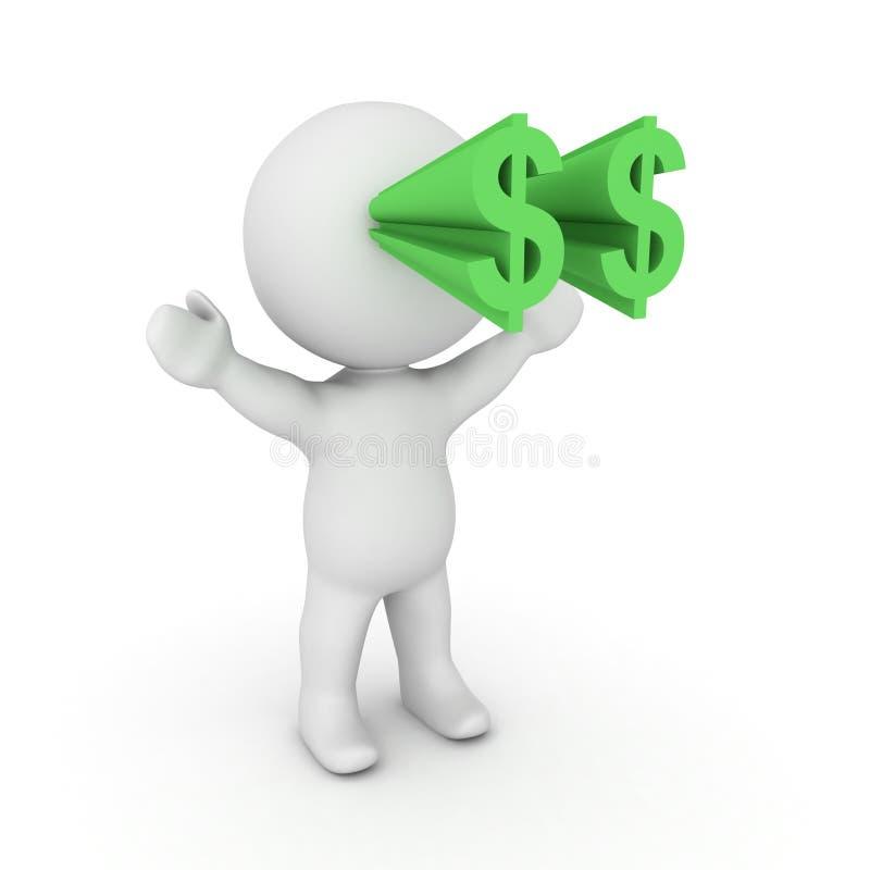 3D Karakter met dollarsymbolen die uit zijn ogen knallen stock illustratie