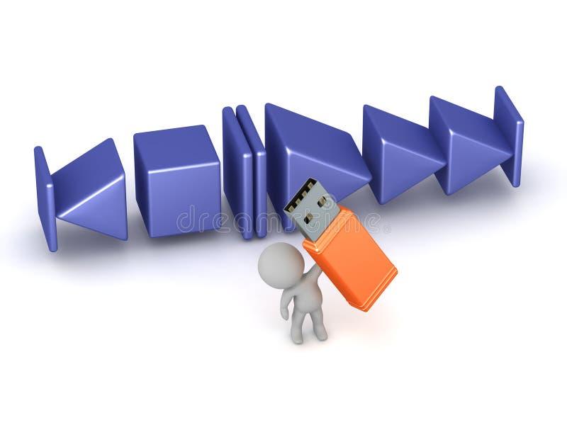 3D Karakter met Grote de Stok en de Muziekspelerknopen van USB royalty-vrije illustratie