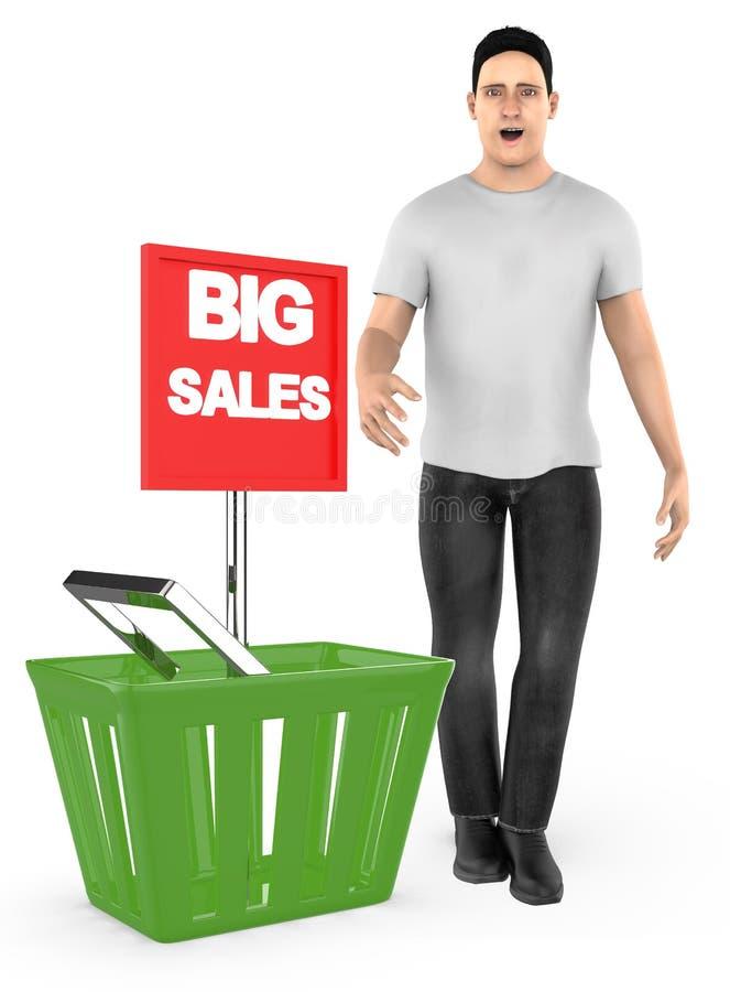 3d karakter, verraste mens die, opgewekt, zich dichtbij aan een mand met grote verkoopadvertentie bevinden royalty-vrije illustratie