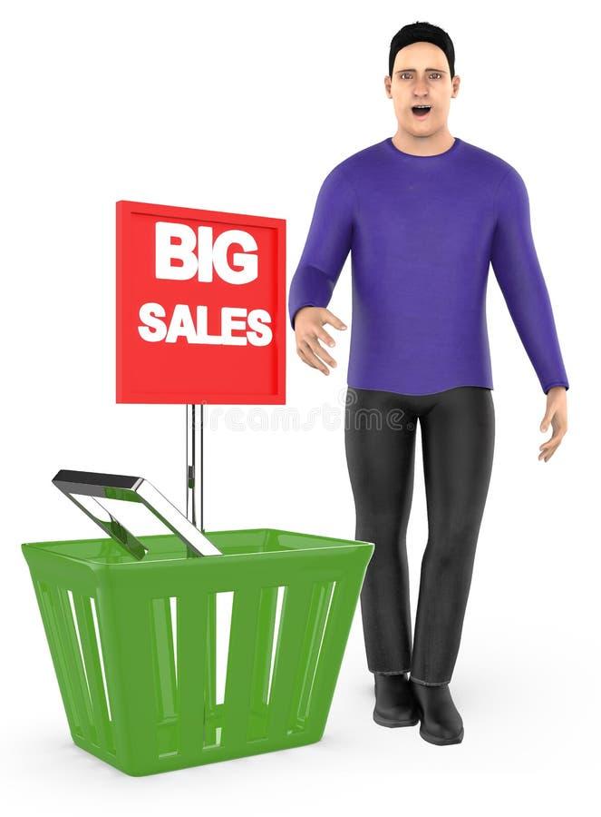 3d karakter, verraste mens die, opgewekt, zich dichtbij aan een mand met grote verkoopadvertentie bevinden vector illustratie