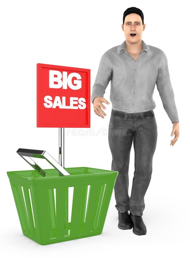 3d karakter, verraste mens die, opgewekt, zich dichtbij aan een mand met grote verkoopadvertentie bevinden stock illustratie