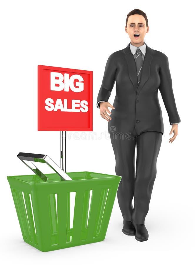 3d karakter, verraste vrouw die, opgewekt, zich dichtbij aan een mand met grote verkoopadvertentie bevinden royalty-vrije illustratie