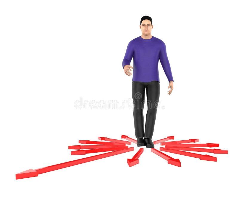 3d karakter, verwarde mens, doubtfull terwijl status in centrum die van pijlen naar verschillende richting richten stock illustratie