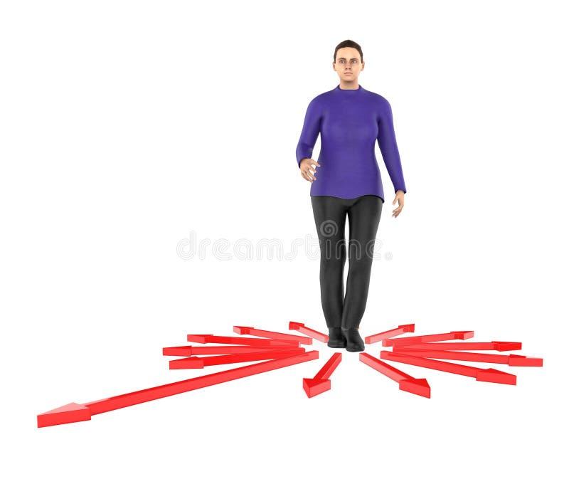 3d karakter, verwarde vrouw, doubtfull terwijl status in centrum die van pijlen naar verschillende richting richten stock illustratie